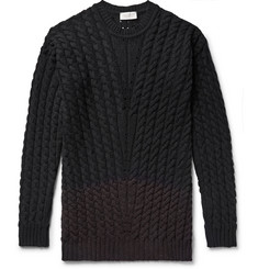 John Smedley - Two-Tone Cable-Knit Merino Wool-Blend Sweater