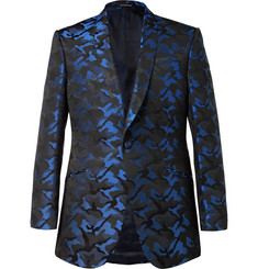 Richard James - Blue Slim-Fit Camouflage Silk-Jacquard Tuxedo Jacket