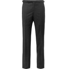 Richard James Black Slim-Fit Satin-Trimmed Wool and Mohair-Blend Tuxedo Trousers