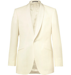 Richard James Ivory Slim-Fit Grosgrain-Trimmed Wool Tuxedo Jacket
