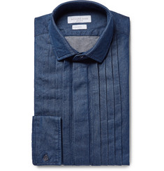 Richard James Blue Pintucked Washed Cotton-Chambray Shirt