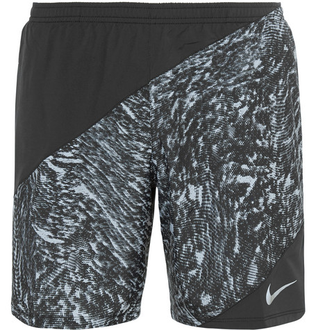 nike running male perforated printed shell shorts