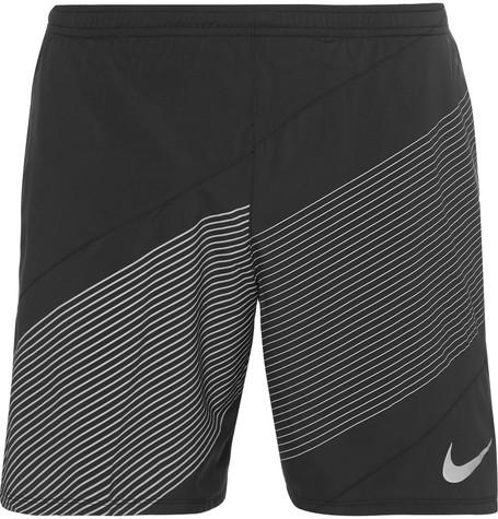 nike running male printed shell shorts