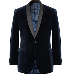 Richard James - Blue Hyde Slim-Fit Satin-Trimmed Cotton-Velvet Tuxedo Jacket
