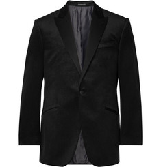 Richard James Black Hyde Slim-Fit Pin-Dot Cotton-Velvet Tuxedo Jacket