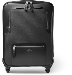 Smythson Greenwich Lacquered-Cotton and Leather Carry-On Suitcase
