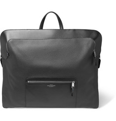 Smythson Greenwich Leather-Trimmed Cotton Garment Bag