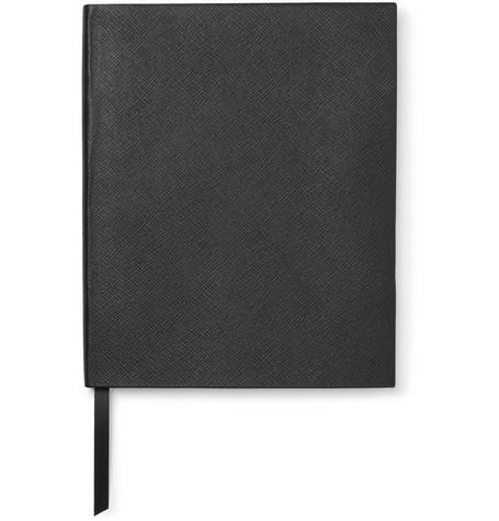 Smythson Portobello Cross-Grain Leather Notebook In Black