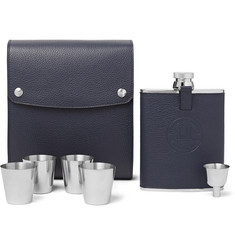 Dunhill Boston Full-Grain Leather and Stainless Steel Flask Set