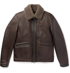 Dunhill - Leather-Trimmed Shearling Jacket