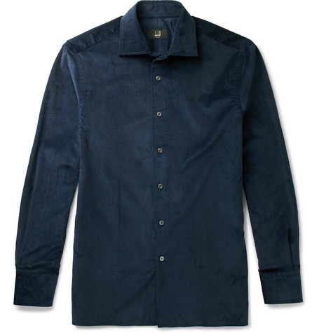 Dunhill Stretch-cotton Corduroy Shirt In Blue