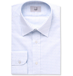Dunhill - Blue Slim-Fit Cutaway-Collar Checked Cotton Shirt