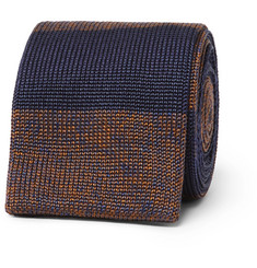 Dunhill - 6cm Striped Knitted Mulberry Silk Tie