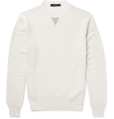 Ermenegildo Zegna Leather-Trimmed Cashmere and Silk-Blend Sweater