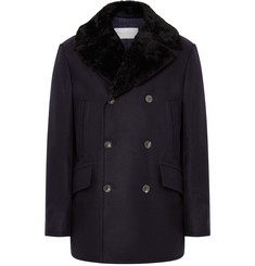 Private White V.C. Manchester Shearling-Trimmed Wool Peacoat