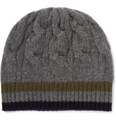 Private White V.C. Stripe-Trimmed Cable-Knit Cashmere Beanie