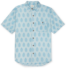 Faherty Coast Banana Leaf-Print Brushed-Twill Shirt