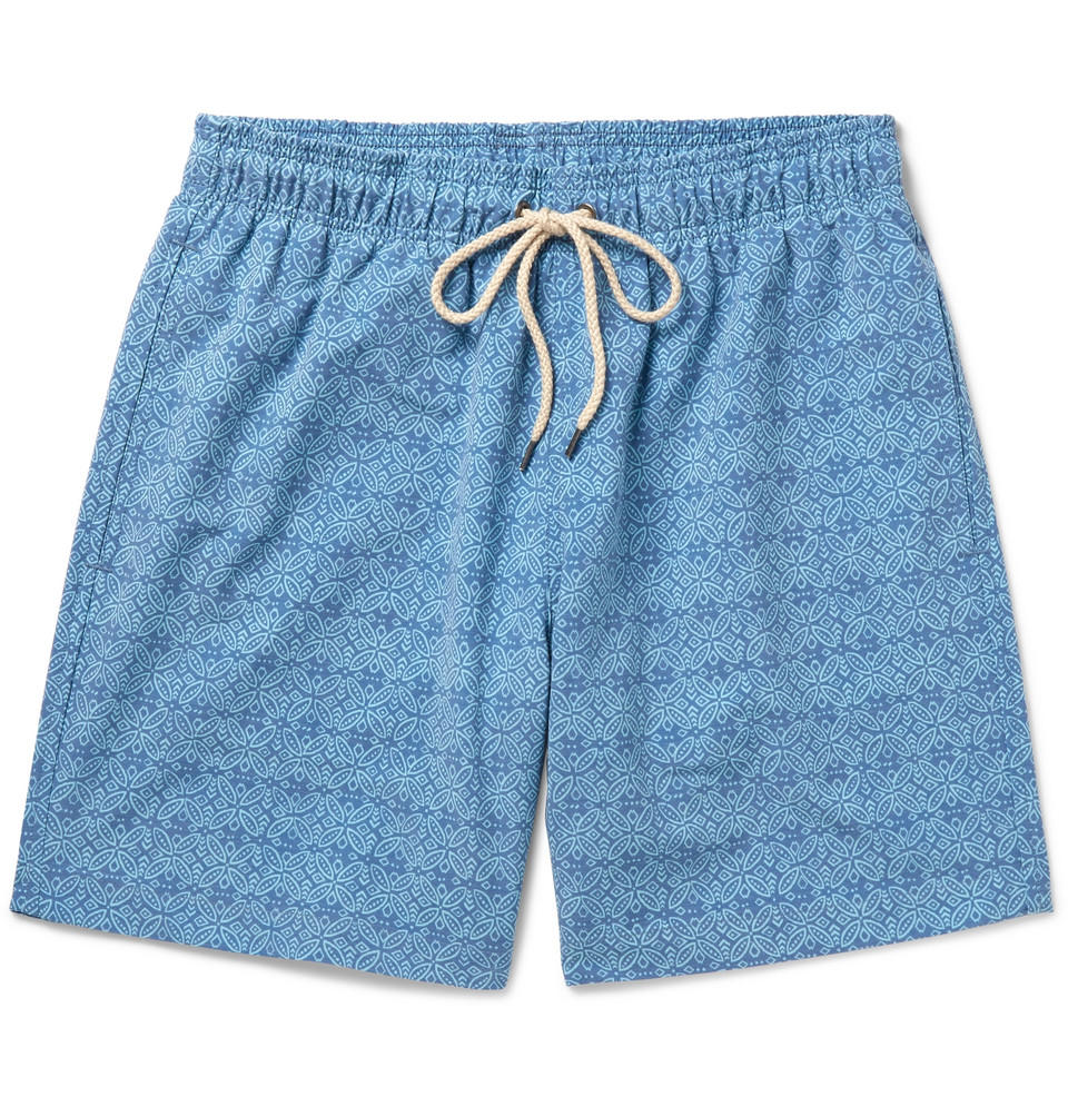 Mid-length Printed Swim Shorts - Navy