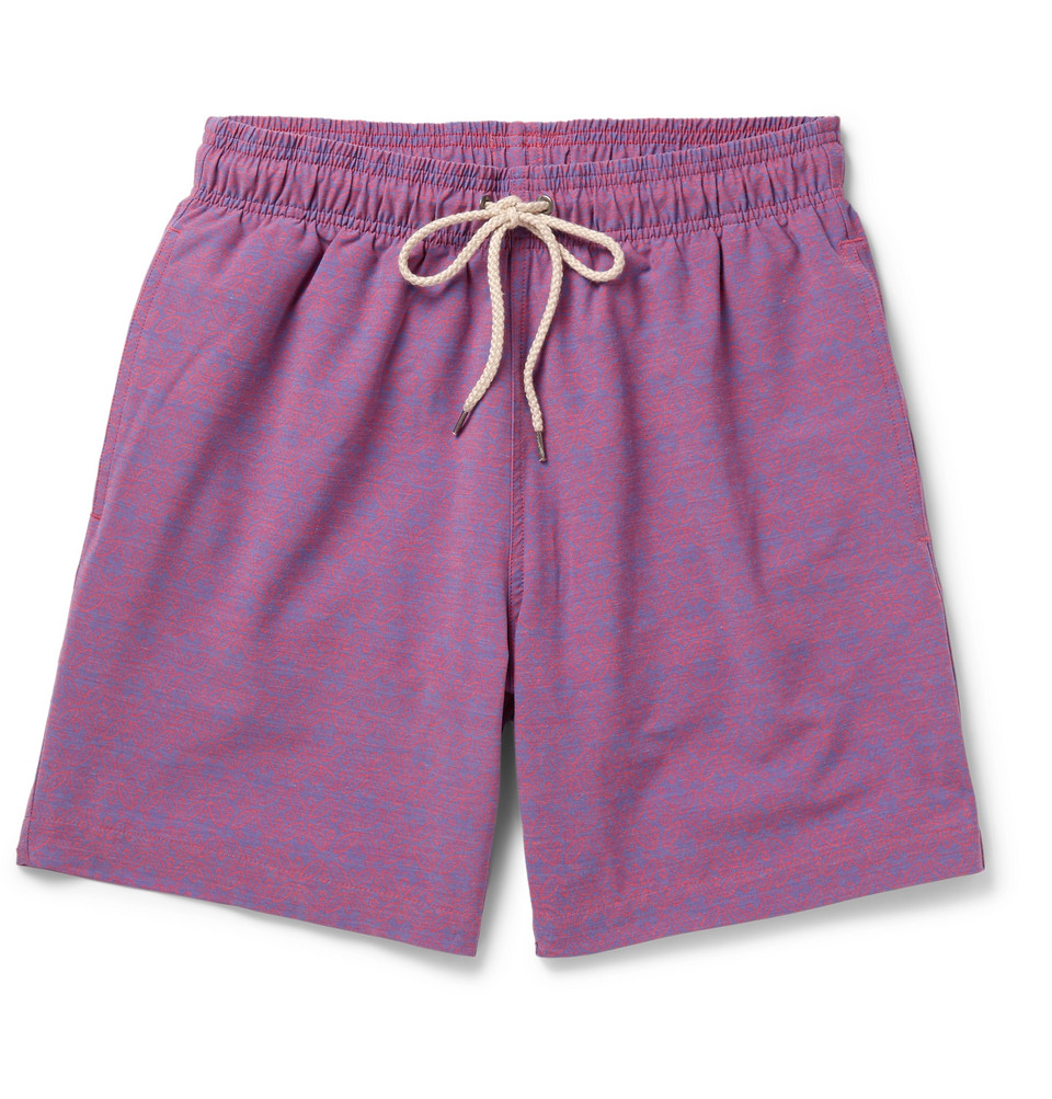 Mid-length Printed Swim Shorts - Purple