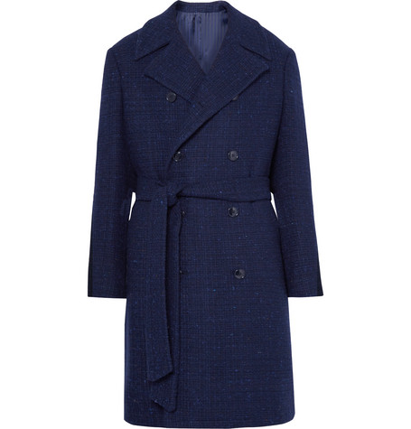 Double-breasted Slub Wool-blend Coat - Midnight blue