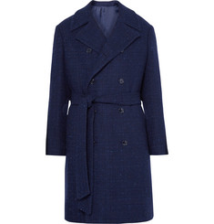 MP Massimo Piombo Double-Breasted Slub Wool-Blend Coat