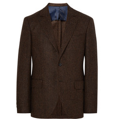 MP Massimo Piombo Brown Slim-Fit Herringbone Virgin Wool Blazer