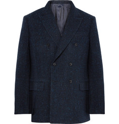 MP Massimo Piombo Navy Double-Breasted Prince of Wales Checked Slub Wool-Blend Blazer