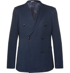 Etro Blue Slim-Fit Double-Breasted Cotton Blazer