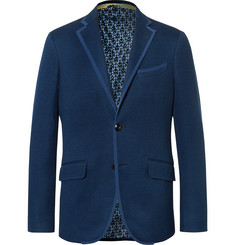Etro Blue Slim-Fit Textured-Cotton Blazer