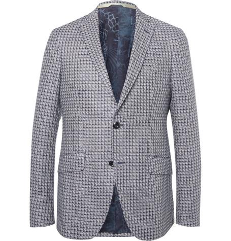 daac8730b4431 Beams Grey Slim-Fit Harris Tweed Wool Blazer In Gray