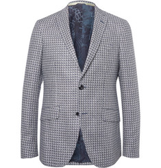 Etro Blue Checked Silk-Jacquard Blazer