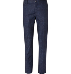 Etro Blue Slim-Fit Damask-Printed Stretch-Cotton Suit Trousers