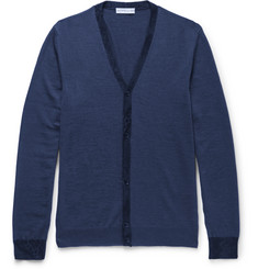 Etro Slim-Fit Contrast-Trimmed Wool Cardigan