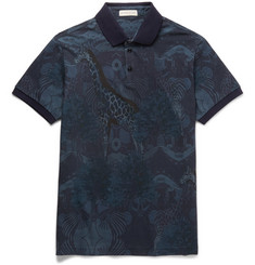Etro Slim-Fit Printed Cotton-Piqué Polo Shirt
