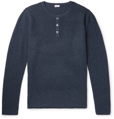 Schiesser - Julius Waffle-Knit Wool and Cashmere-Blend Henley T-Shirt