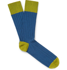 John Smedley - Two-Tone Ribbed Cotton-Blend Socks