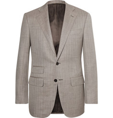 Thom Sweeney Light-Brown Slim-Fit Herringbone Slub Wool, Silk and Linen-Blend Blazer