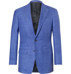 Thom Sweeney Blue Slim-Fit Mélange Slub Wool, Silk and Linen-Blend Suit Jacket