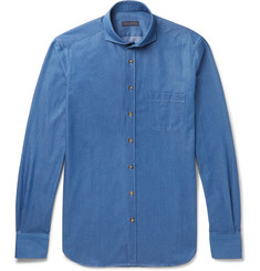 Thom Sweeney Cutaway-Collar Cotton-Chambray Shirt