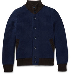 Thom Sweeney Two-Tone Cashmere and Virgin Wool-Blend Bomber Jacket