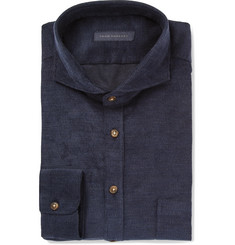 Thom Sweeney Navy Slim-Fit Cutaway-Collar Cotton-Corduroy Shirt