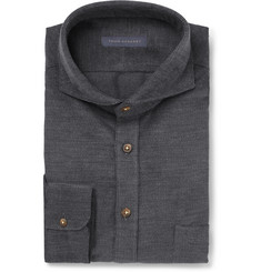 Thom Sweeney Grey Slim-Fit Cutaway-Collar Cotton-Corduroy Shirt