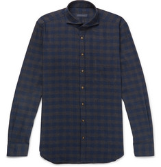 Thom Sweeney Slim-Fit Cutaway-Collar Checked Brushed-Cotton Twill Shirt