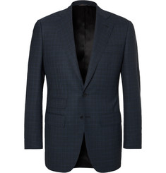 Thom Sweeney Storm-Blue Slim-Fit Windowpane-Checked Wool Suit Jacket