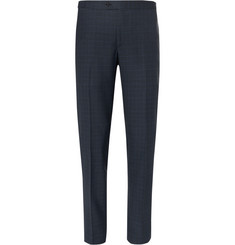 Thom Sweeney - Storm-Blue Slim-Fit Windowpane-Checked Wool Suit Trousers