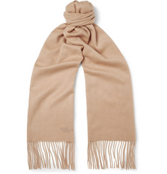 Mulberry Fringed Brushed-Cashmere Scarf