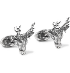 Mulberry Stag Burnished Silver-Tone Cufflinks