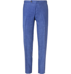Thom Sweeney Blue Slim-Fit Mélange Slub Wool, Silk and Linen-Blend Suit Trousers