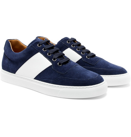 Mr Jones Bolt Leather-panelled Suede Sneakers - Navy