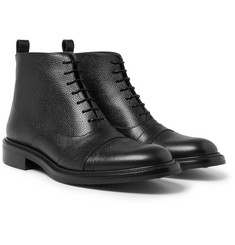 O'Keeffe - Milo Cap-Toe Pebble-Grain Leather Boots